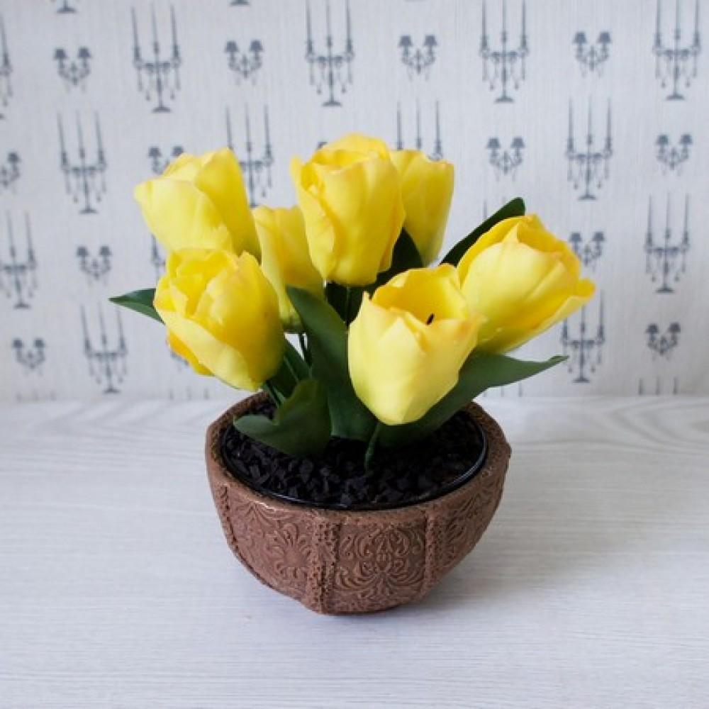 Сахарные тюльпаны в шоколадной вазе